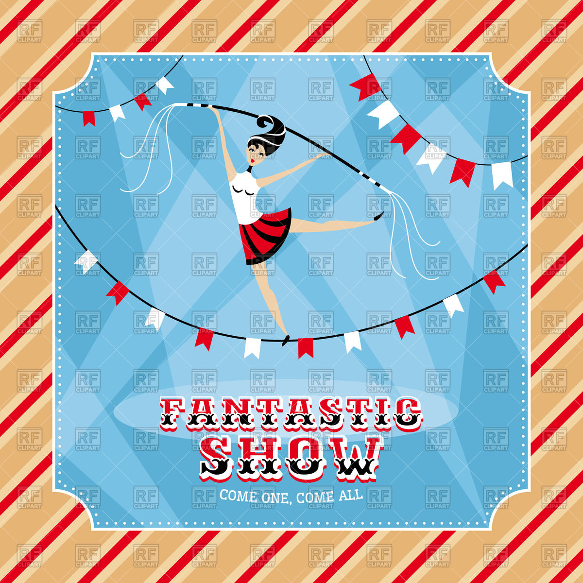 Circus poster or invitation with girl acrobat Stock Vector Image.