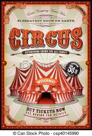 Vintage Circus Poster With Big Top.