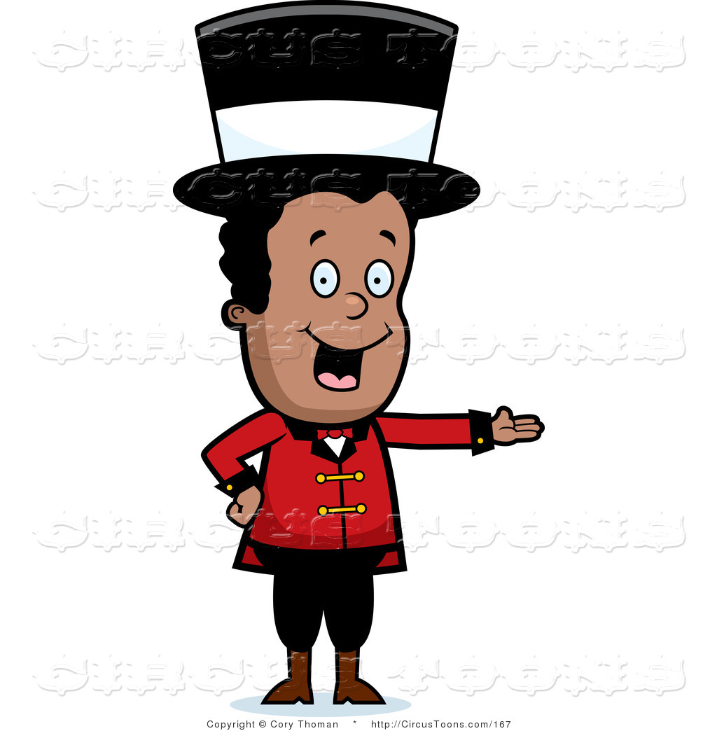 Circus Clipart of a Black Circus Ringmaster Man Wearing a Hat and.