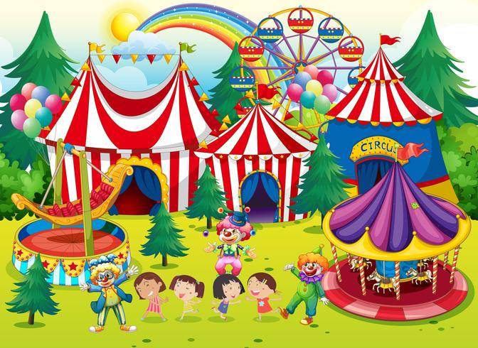 Children having fun at the circus.