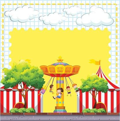 Border design with circus scene Clipart Image.