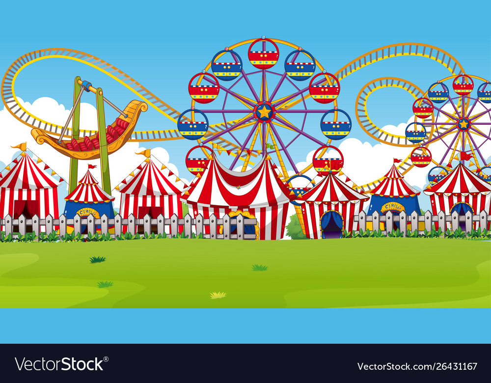 Amusement park scene with rides and circus tents.