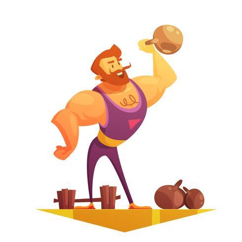 Traveling Circus Strongman Cartoon Retro Icon.