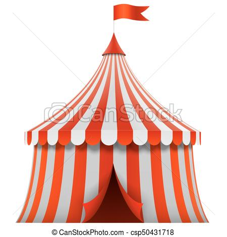 Red and white stripes circus tent.
