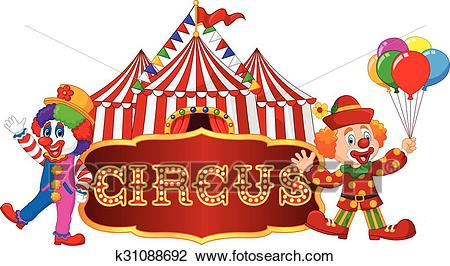 Circus tent with clown. isolated Clipart.