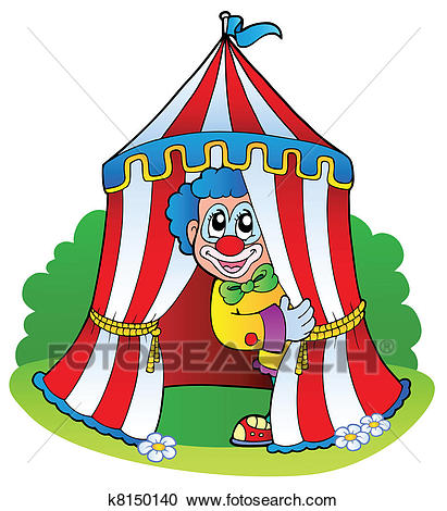 Cartoon clown in circus tent Clipart.