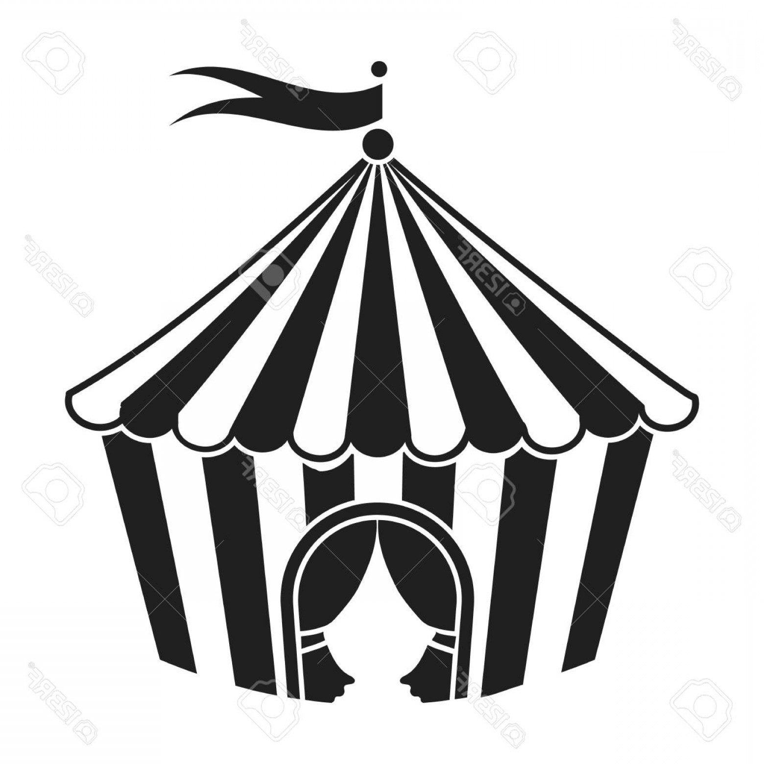 Black And White Circus Tent Vector.