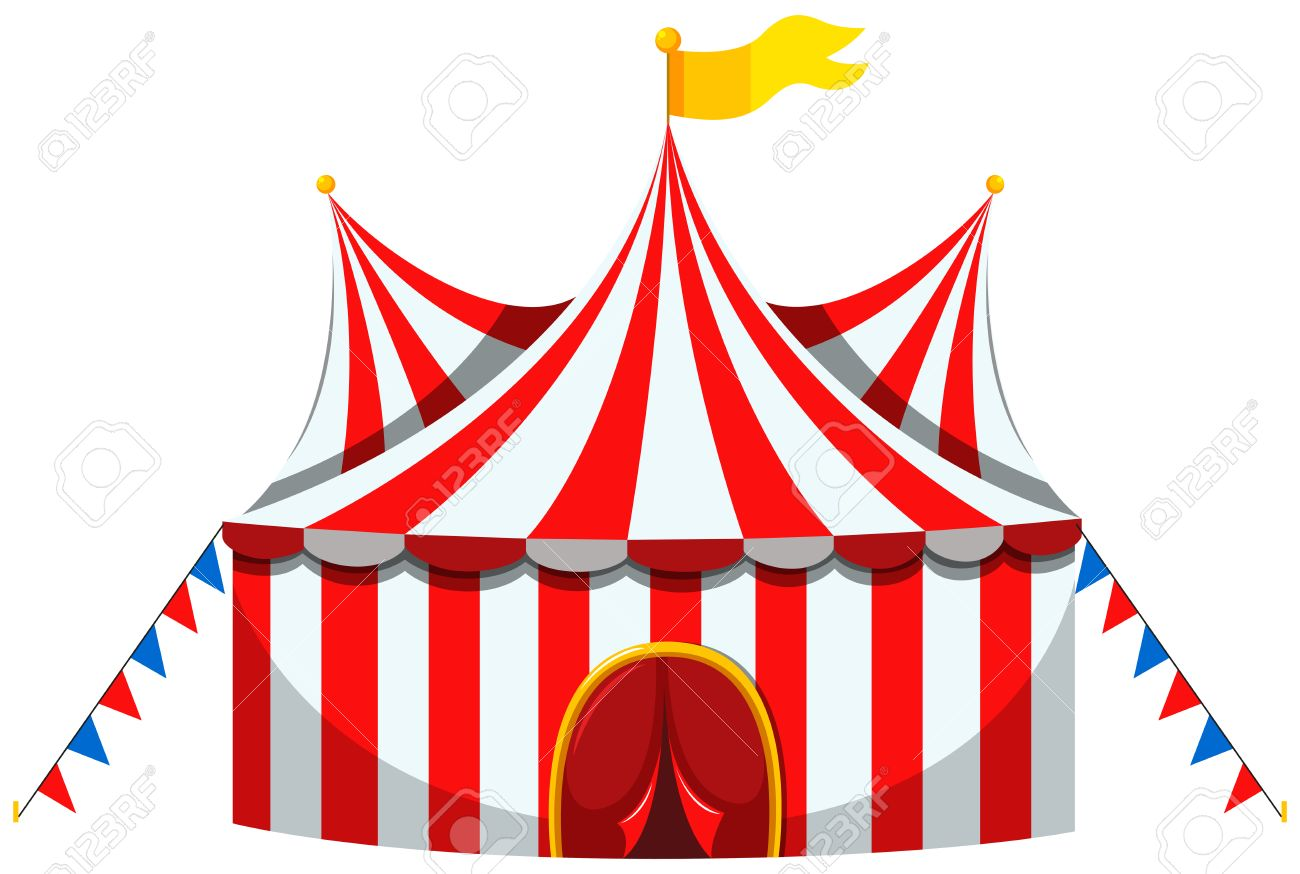 Circus tent in red and white striped illustration.