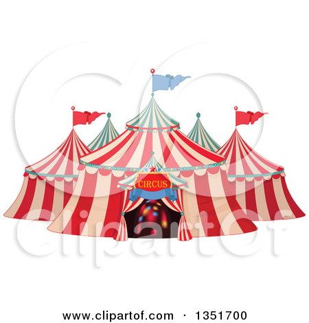 Clipart of a Cartoon Big Top Circus Tent with Lights in the Entrance.