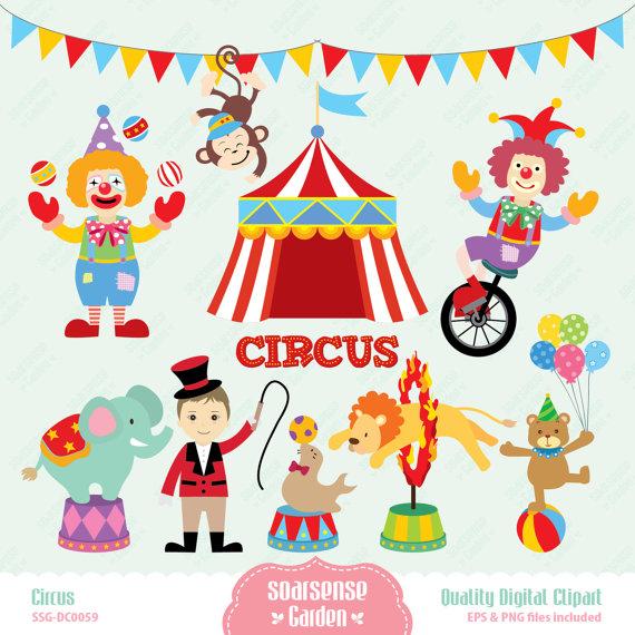 Circus Digital Clipart, Carnival Clip Art, Animal Circus Clip Art.