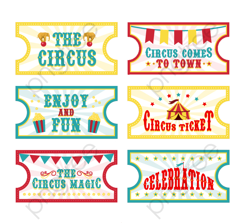 6 Cartoon Circus Ticket Vector Material, Circus, Tickets, Creative.