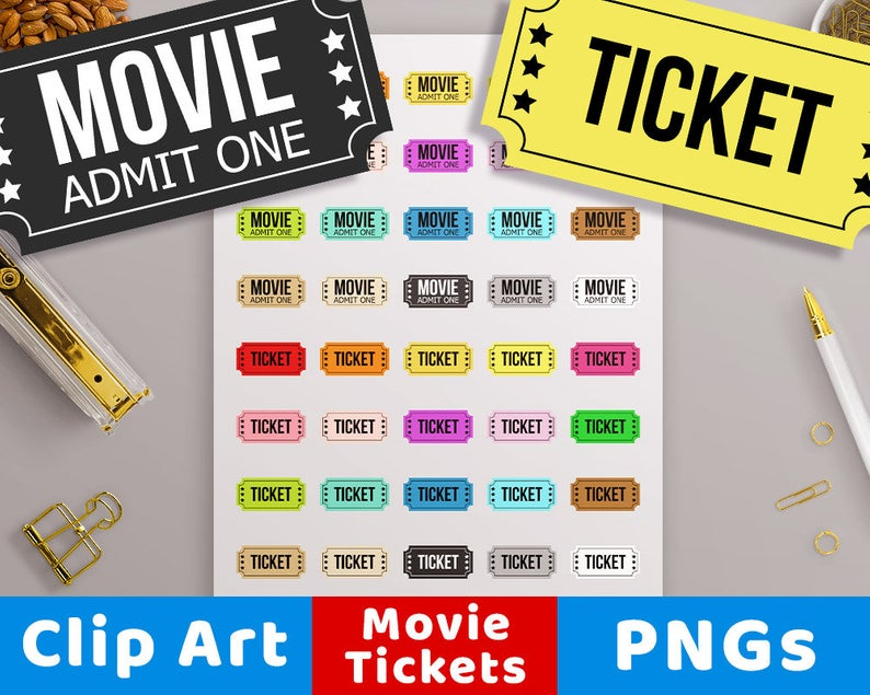 Movie Ticket Clipart, Circus Ticket, Carnival Ticket, Theater Ticket,  Cinema Ticket, Family Movie Night Printable, Admit One, Play Ticket.