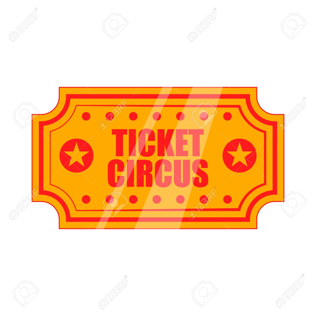 Circus show paper tickets icon in cartoon style on a white background.