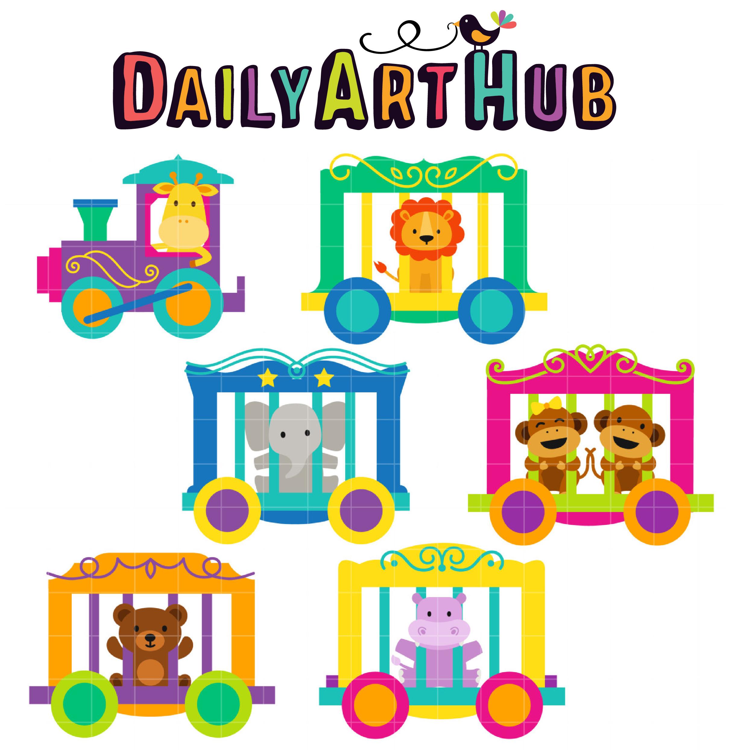 Circus Train Clip Art Set.