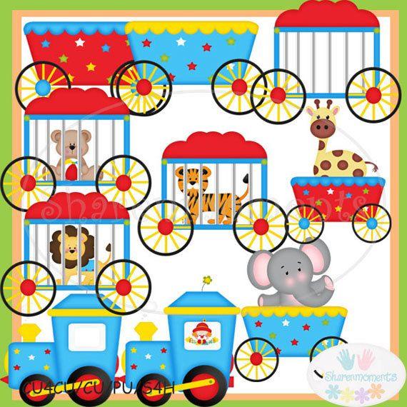 Circus Train Cute Digital Clipart for Card Design by.