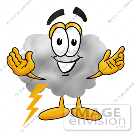 Clip Art Graphic of a Puffy White Cumulus Cloud Cartoon Character.