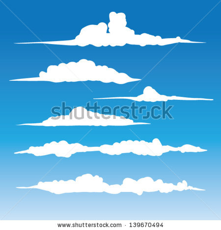 Windblown Clouds Vector Collection Stylized Cloud Stock Vector.