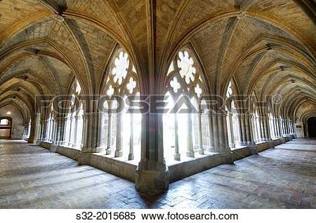 Stock Image of Cloister in cistercian Veruela Monastery, Saragossa.