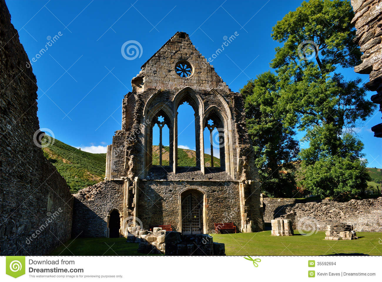 Valle Crucis Abbey At Llantysilio, Wales Stock Images.