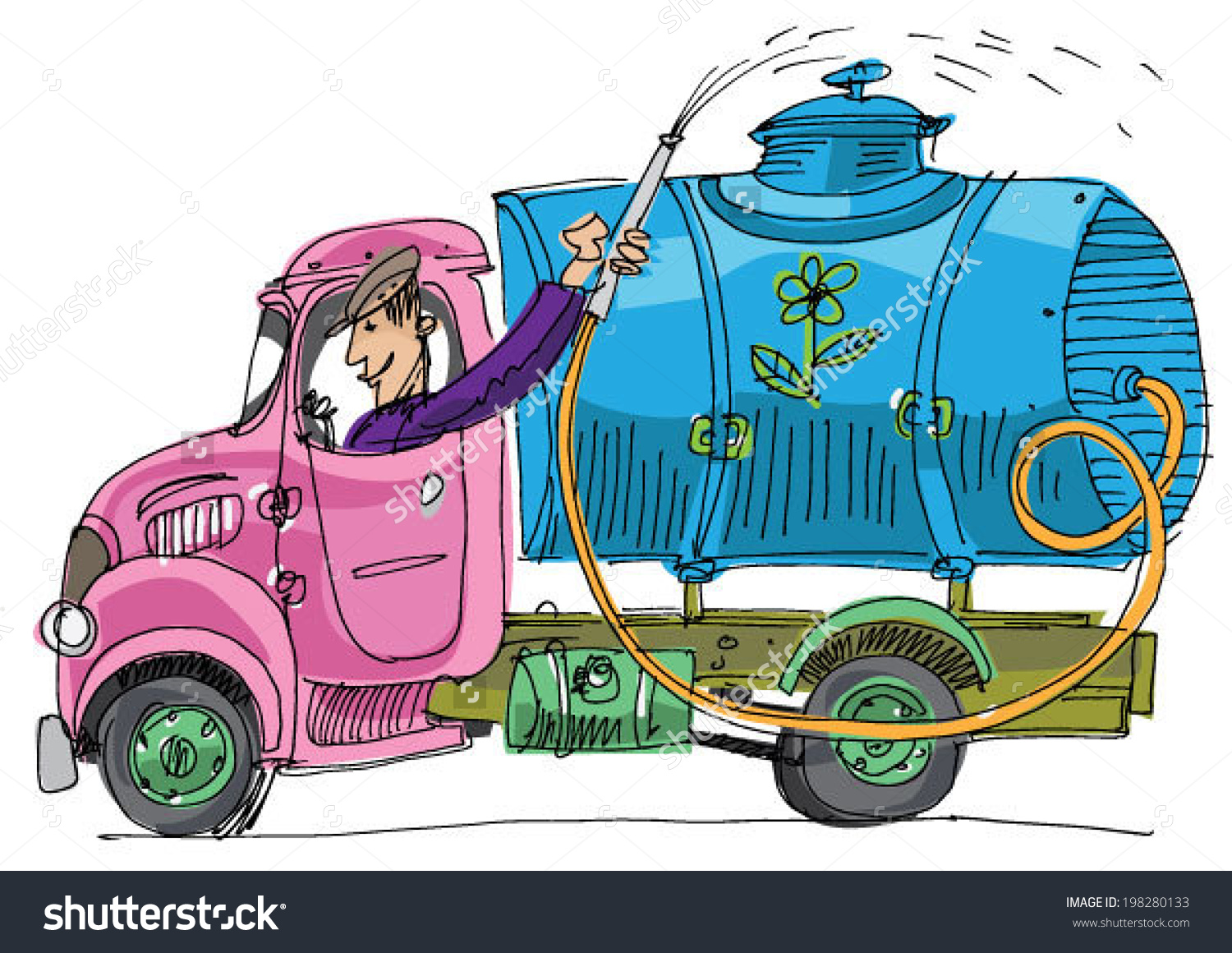 Old Lorry Watering Cistern Cartoon Stock Vector 198280133.
