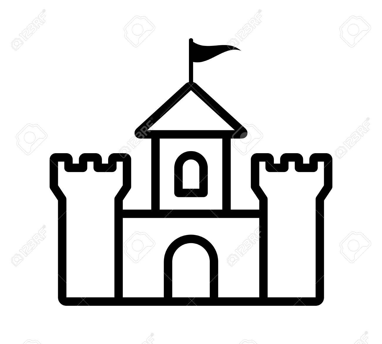 Castle fortress or citadel base line art icon for games and websites.