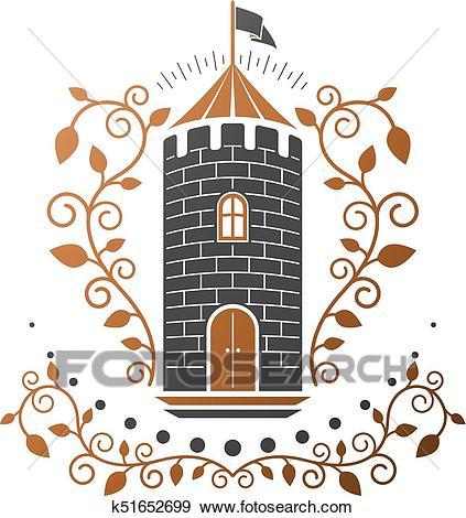Ancient Citadel emblem. Heraldic vector design element. Retro style label,  heraldry logo. Antique logotype on isolated white background. Clip Art.