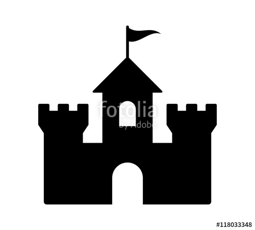 Castle fortress or citadel base flat icon for games and websites.