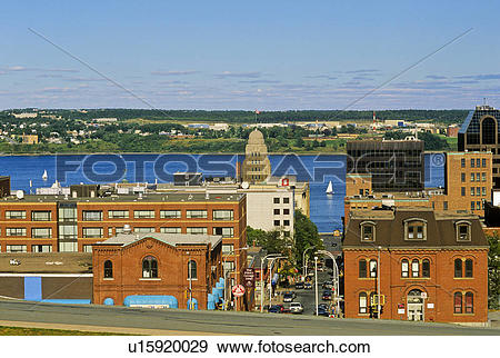 Stock Photograph of View towards the harbour from Citadel Hill.