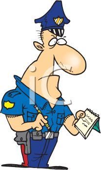 An Angry Looking Cartoon Police Officer Writing A Citation.