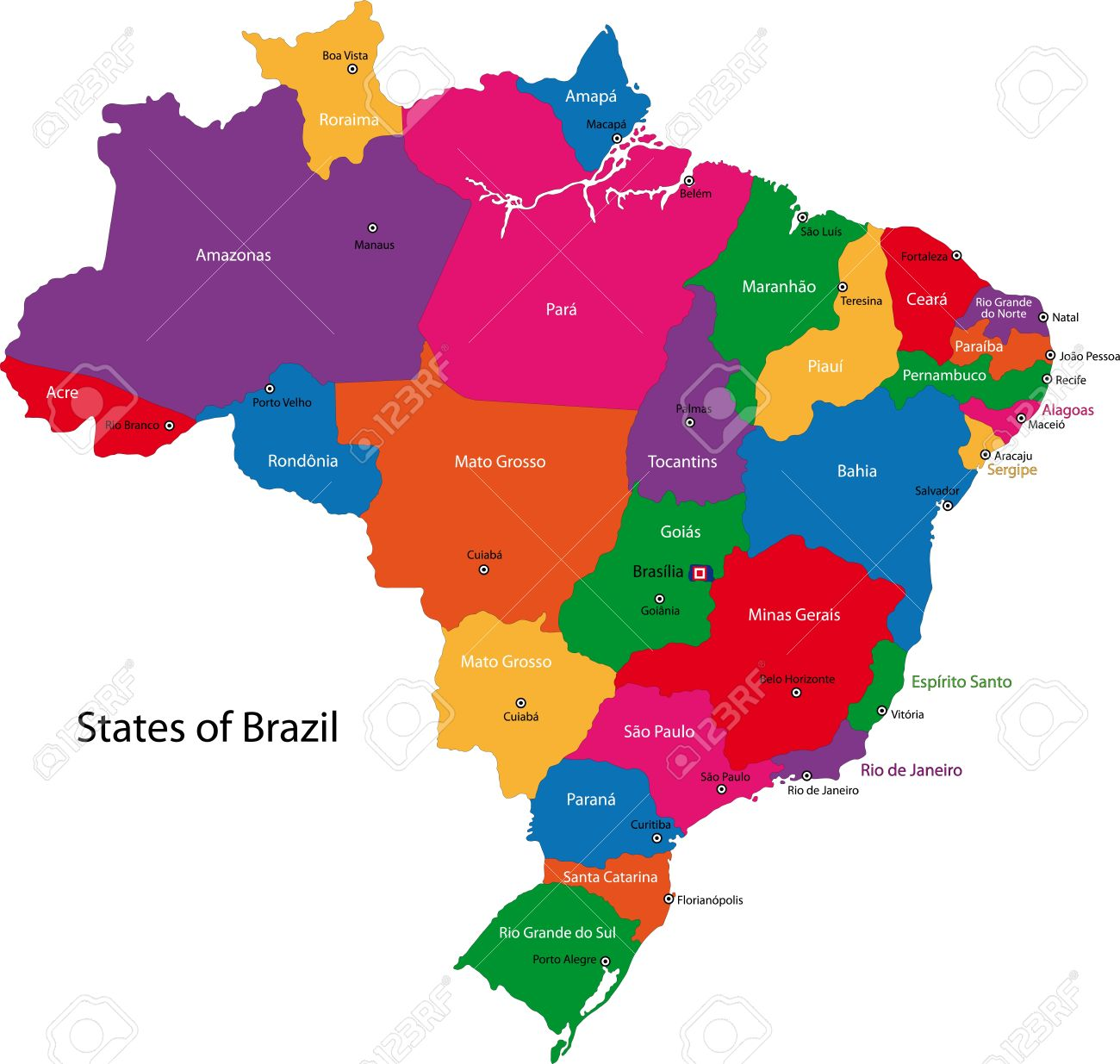 Colorful Brazil Map With States And Capital Cities Royalty Free.