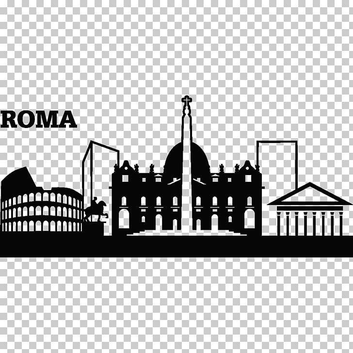 Rome Logo graphics Illustration , gotham city skyline PNG.