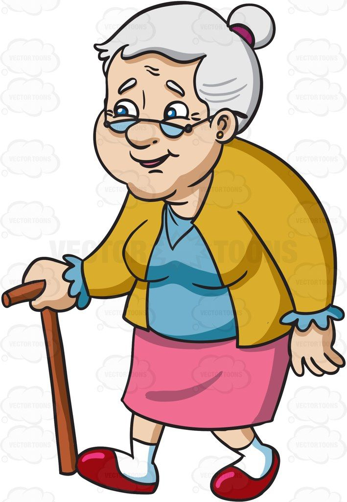 A smiling female senior citizen with glasses #cartoon #clipart.