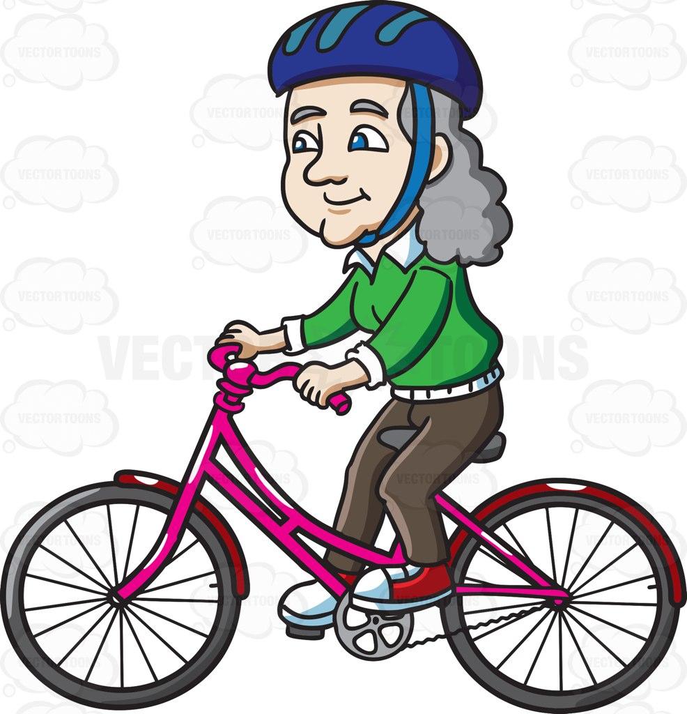 A Female Senior Citizen Riding A Bike With Delight Cartoon Clipart.