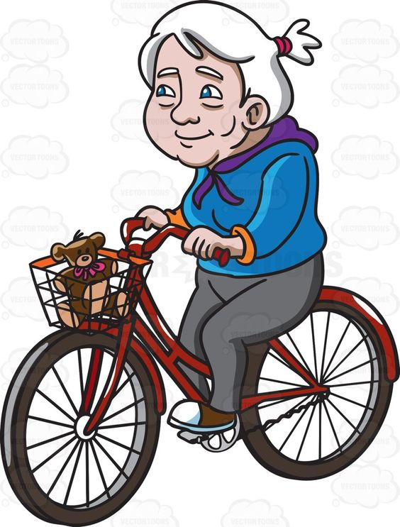 A Female Senior Citizen Having A Great Day While Riding A Bike.
