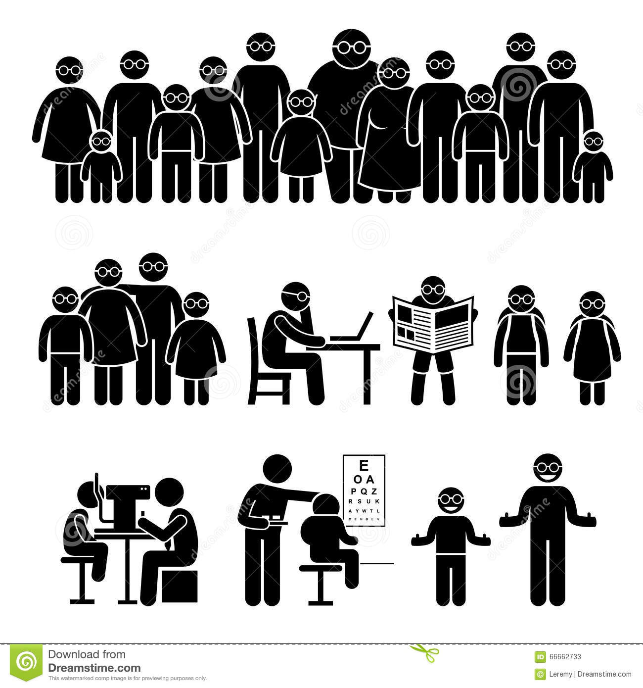 People Children Family Wearing Glasses Clipart Stock Vector.