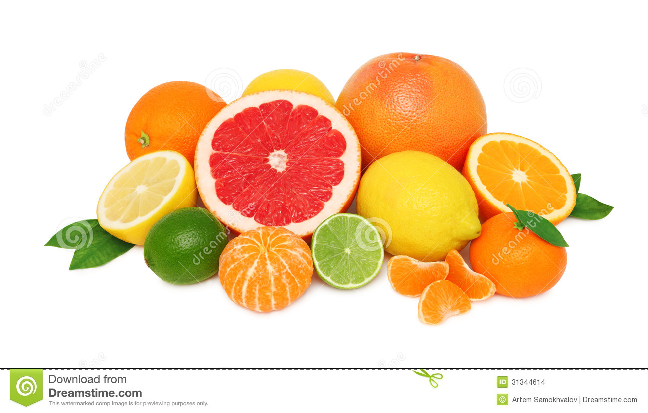 Pile From Different Citrus Fruits On White Background Stock Images.