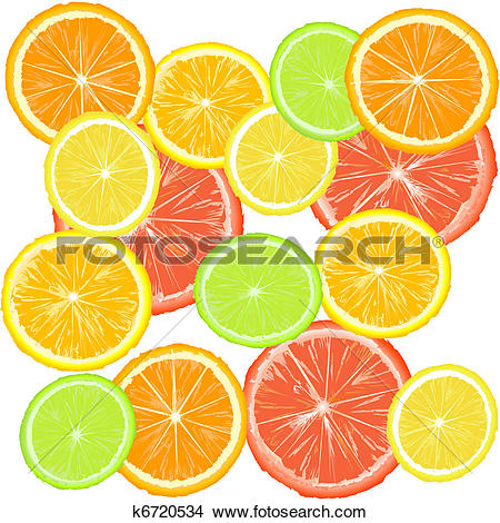 Drawings of Background with citric fruits k6720534.