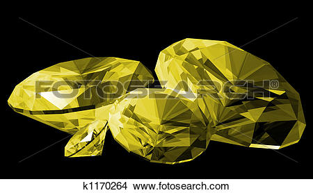 Drawings of 3d Citrine Gem Isolated k1170264.