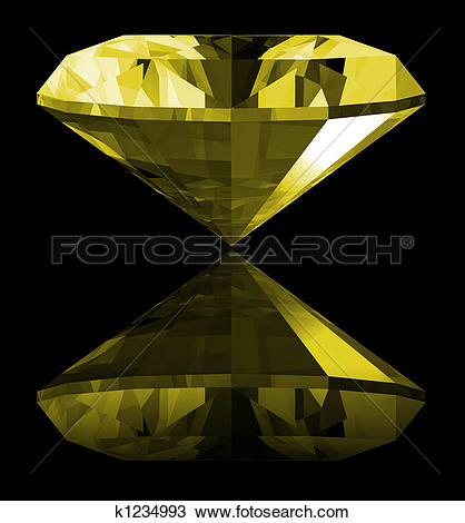 Drawing of 3d Citrine Gem Isolated k1234993.