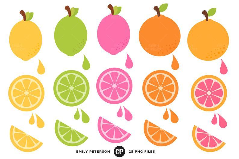 Lemon Clip Art, Lime Clipart, Citrus Clip Art.