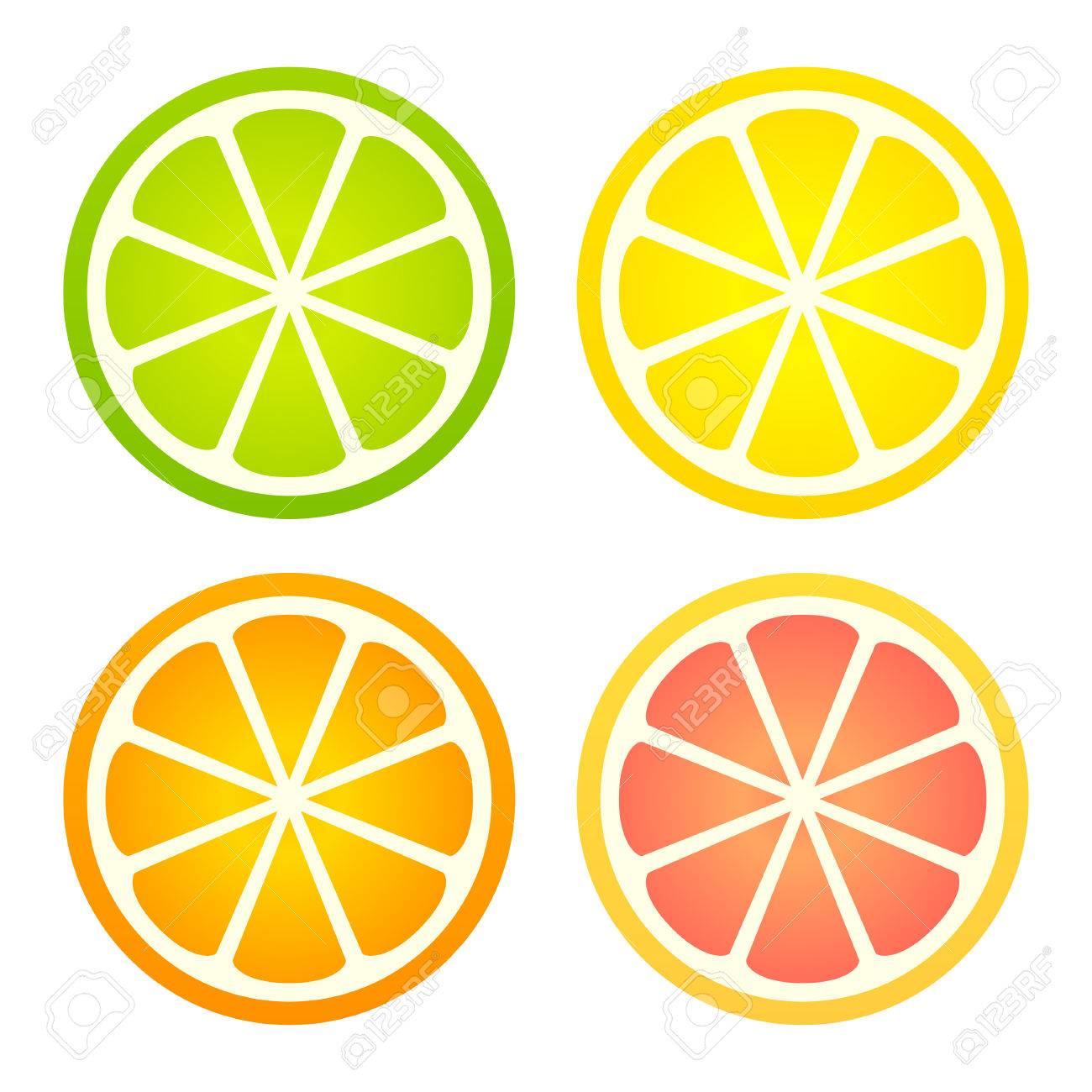 Citrus fruit icon set. Lemon, lime, orange and grapefruit cross...