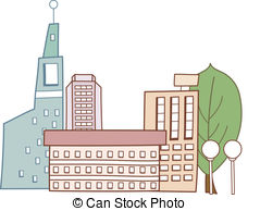 Vector Clipart of The building of the city administration. Urban.