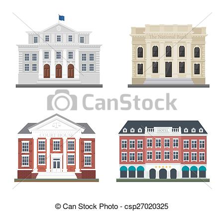 Vector Illustration of Set the city administration building and.