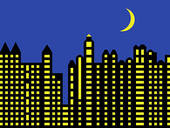 Stock Illustration of Modern city skyline at night k1909937.