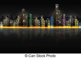 Cities at night clipart.