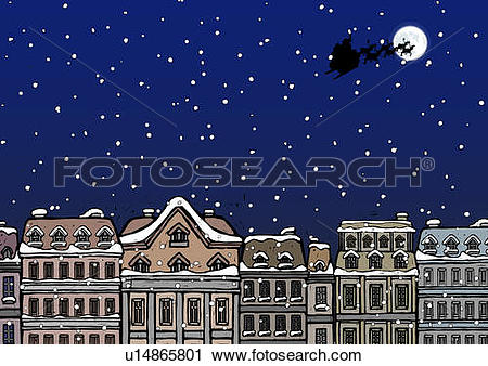 Clipart of Silhouette of a Santa Claus on a sleigh flying over a.