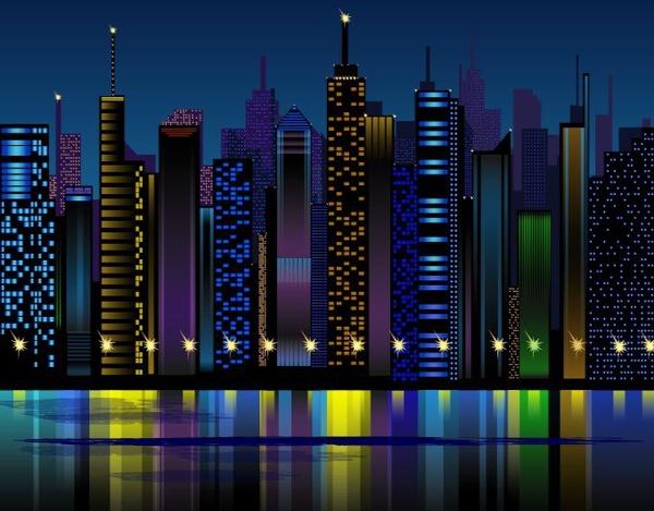 Night city live clipart.
