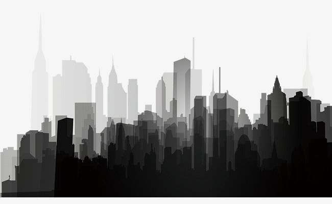 Black And White City Silhouette, Black And White, City.