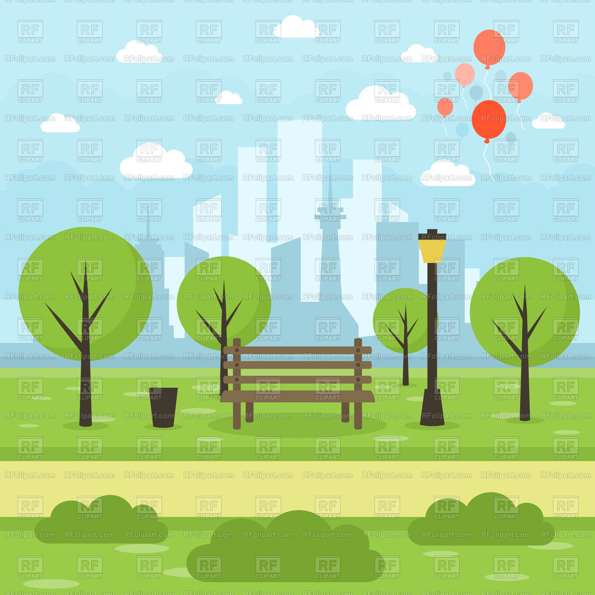 Park on city background Stock Vector Image.