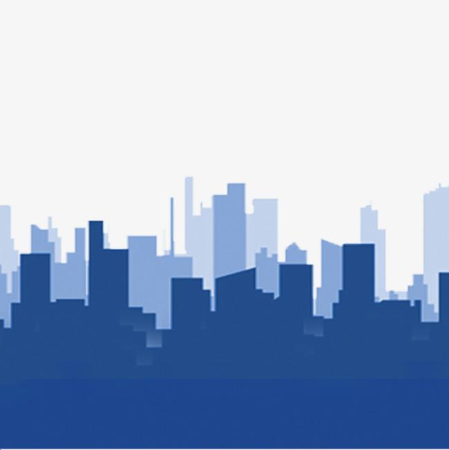 City Building Silhouette, Building Clipart, Blue Background, City.